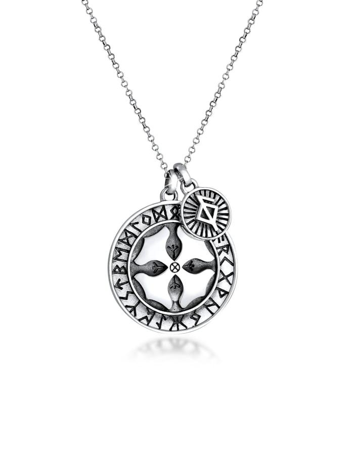 Kuzzoi Halskette Herren Runenkreis Kreuz Gesundheit 925 Silber, Grau