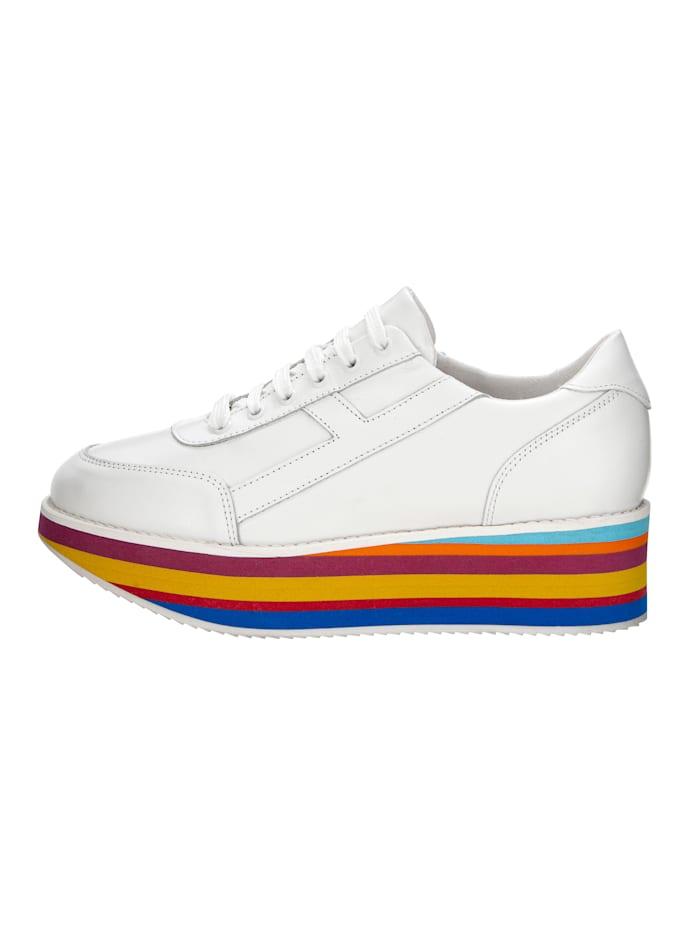 Sneakers avec semelle de marche à plateau colorée