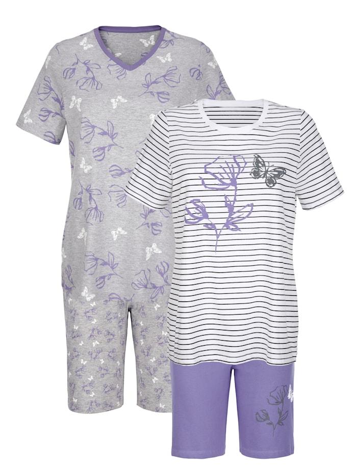 Blue Moon Pyjamas med vackert blomprint, Benvit/Grå