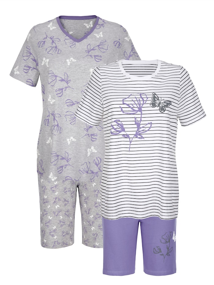 Blue Moon Shortys mit hübschem Blumenprint, Ecru/Grau