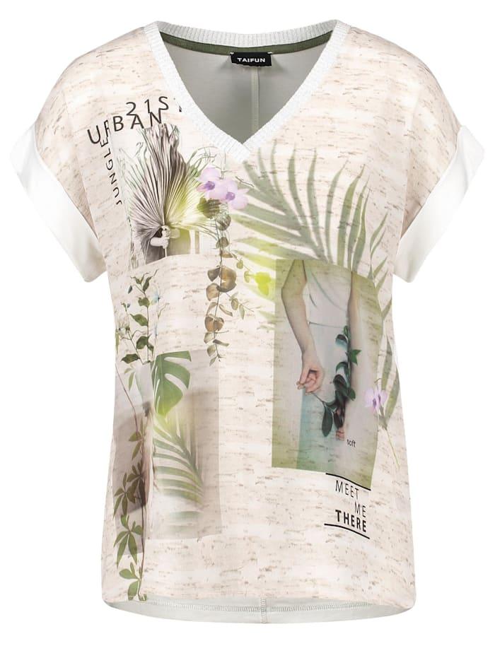 Taifun V-Shirt mit Crêpe-Front, Sandstone gemustert