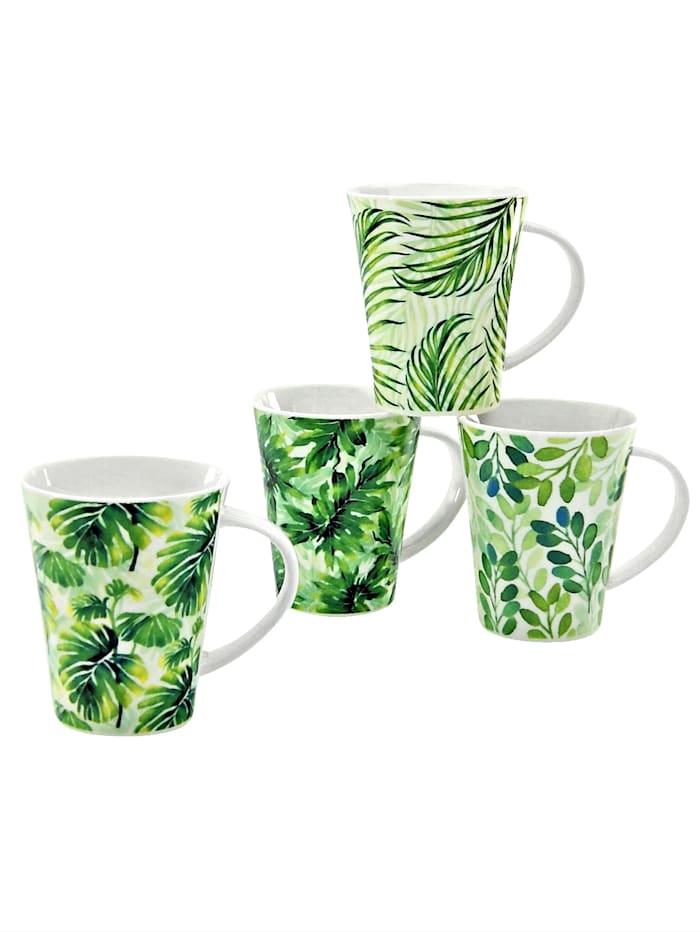 Creatable Set van 4 koffiemokken Tropical, groen/wit