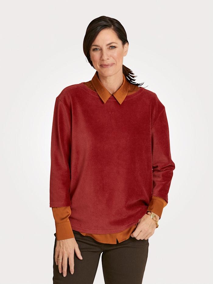MONA Sweat-shirt en velours côtelé agréable à porter, Brique