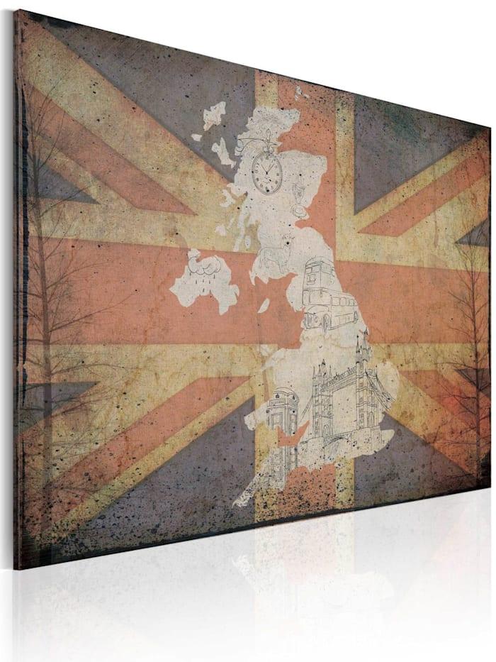 artgeist Wandbild Landkarte von Großbritannien, Blau,Creme,Rot,Weiß