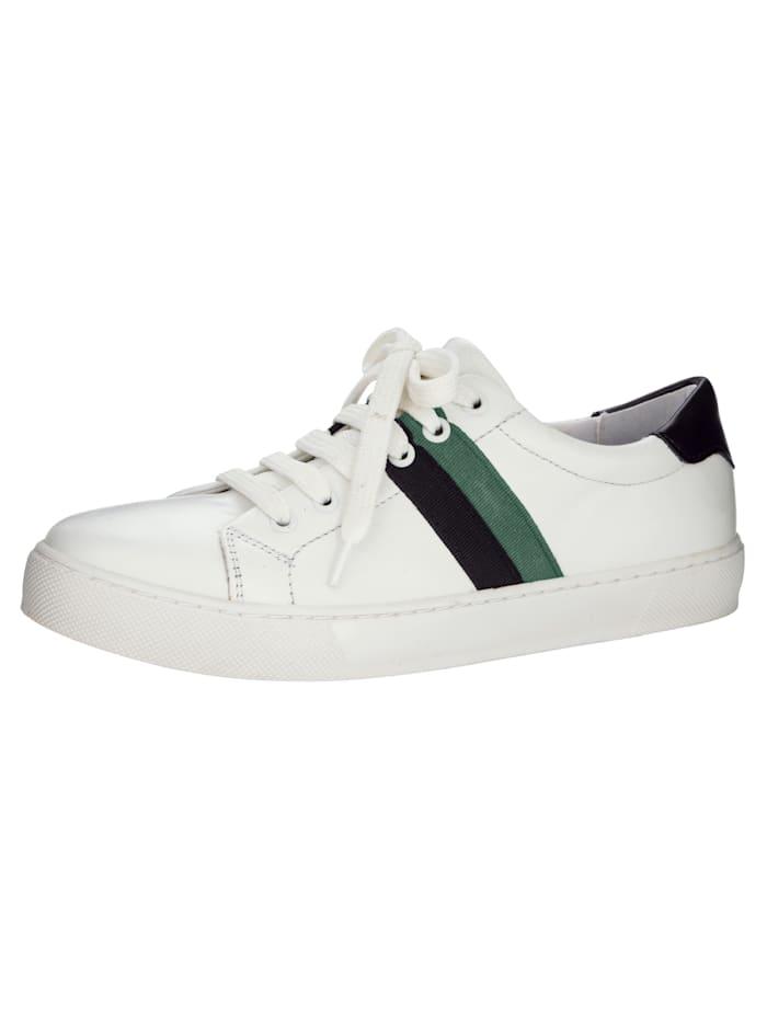 Sneaker mit modischer Streifen-Verzierung, Weiß/Schwarz/Grün