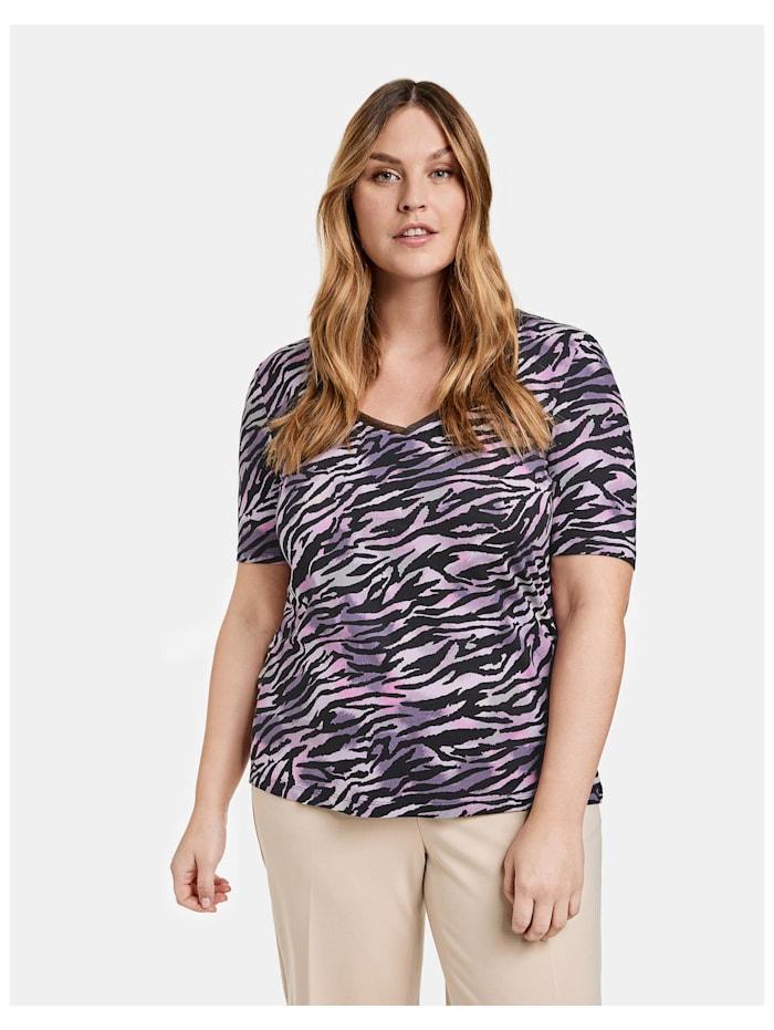 Samoon T-Shirt mit V-Ausschnitt EcoVero, Black gemustert