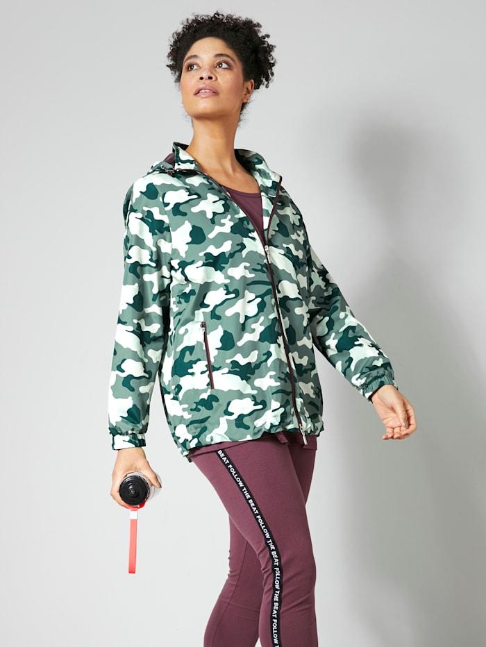 Janet & Joyce Jacke mit Camouflage-Muster, Oliv/Mauve