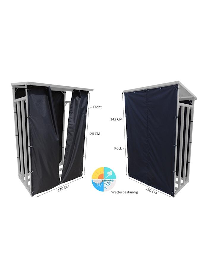 Wetterschutz Set Front und Rückwand zu  Kaminholzunterstand M 130 x 60 x 150 cm  Polyester Schwarz