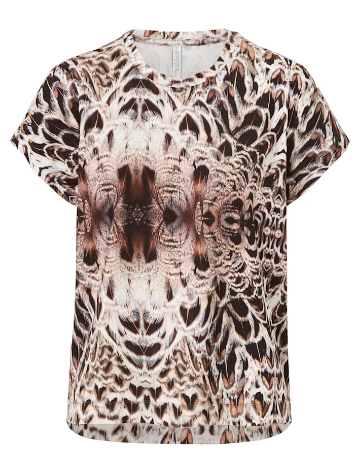 summum T-Shirt mit Federprint, Schokobraun