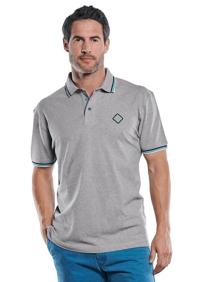 Engbers Poloshirt mit raffinierter Kragen und Bündchen Verarbeitung, Silbergrau