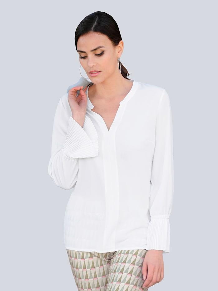 Alba Moda Bluse mit plissiertem Armabschluss, Off-white