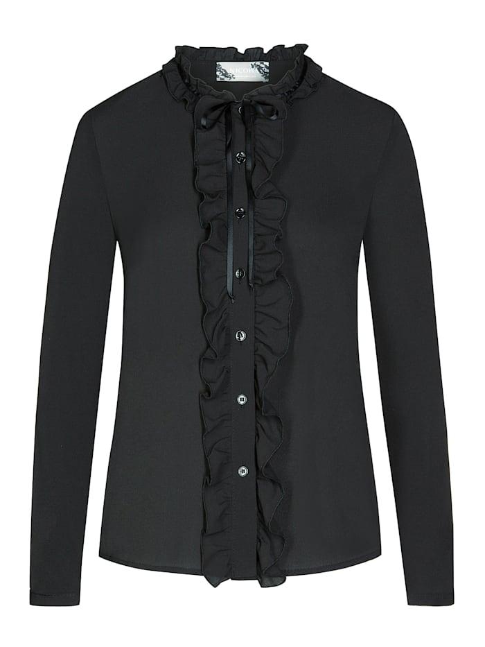 Nicowa Stilvolle Bluse SOPHIE mit Rüschendetails, black