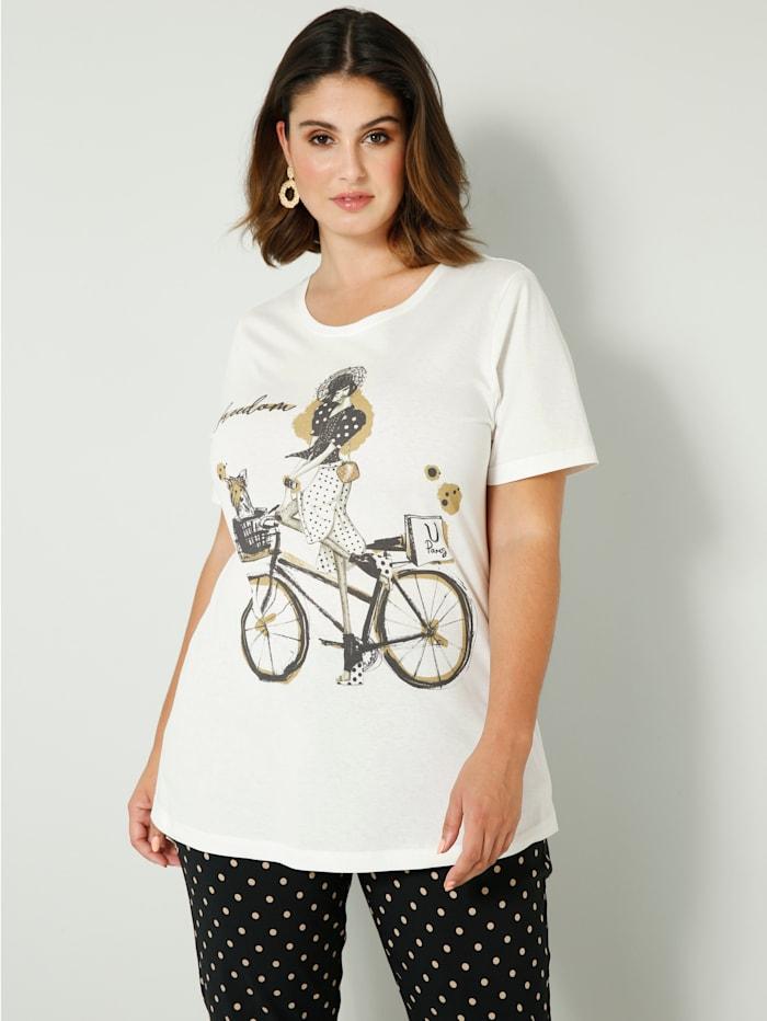 Sara Lindholm Shirt mit Dekosteinchen im Print, Off-white/Schwarz