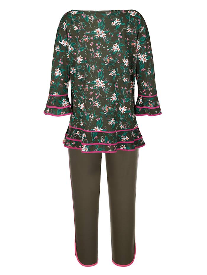 Pyjama met leuke volants aan de mouwzomen