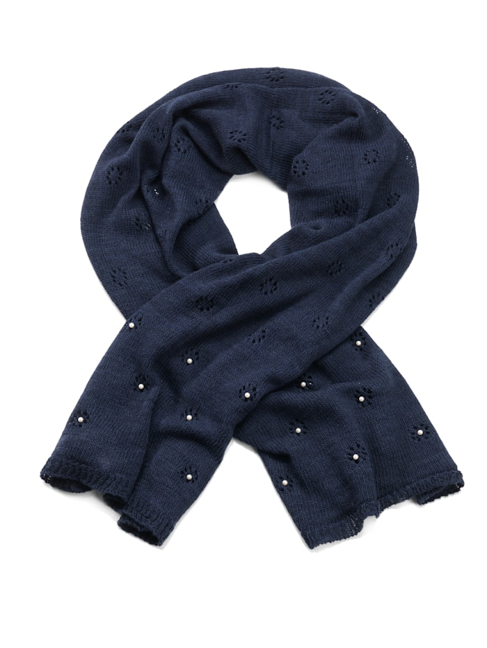 Alba Moda Scarf elaborately decorated with pearls, navy blue