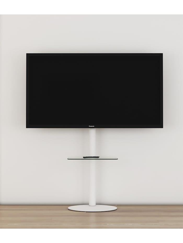 VCM TV Standfuß Alu Cirla mit Glas Zwischenboden, Weiß