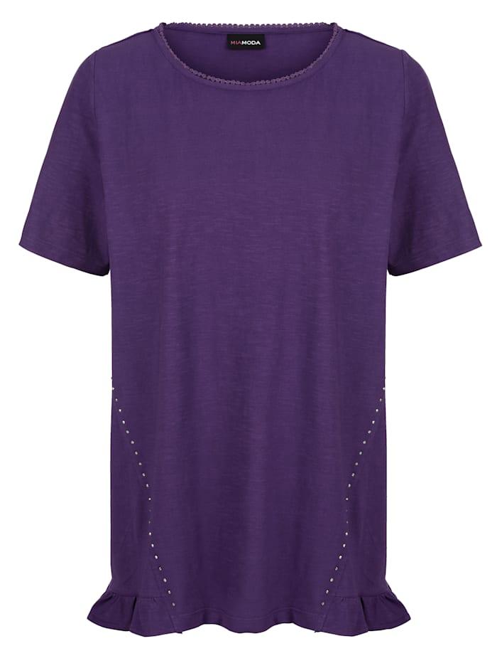 MIAMODA Shirt mit Dekosteinen, Lila