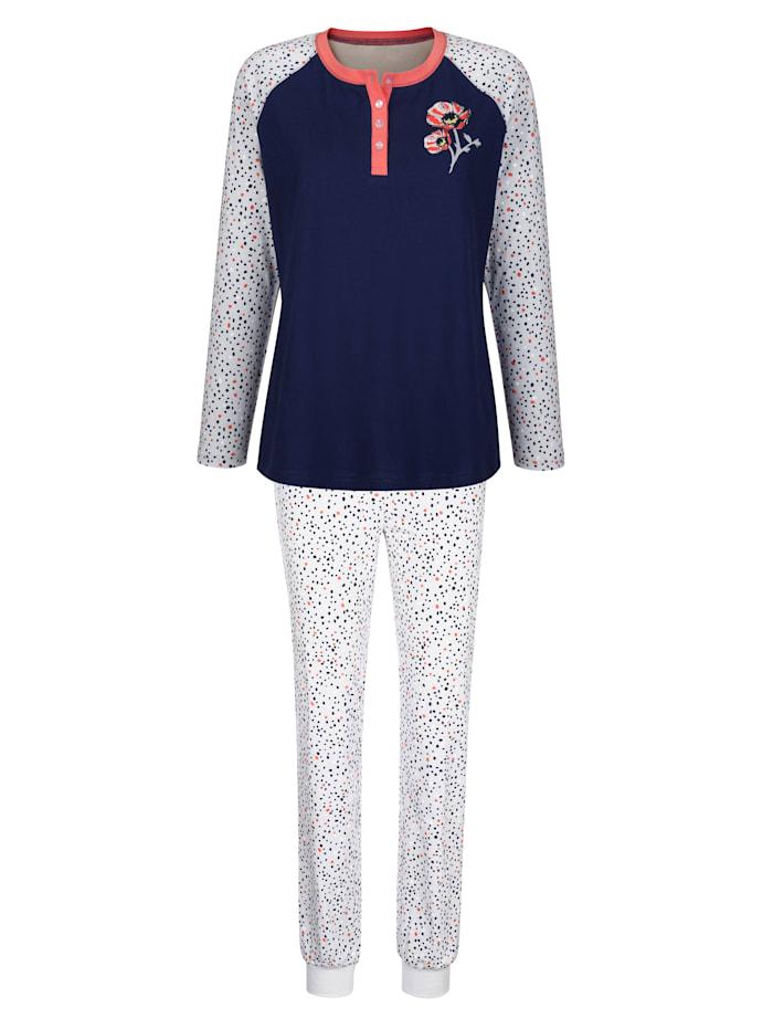 Blue Moon Pyjama met contrastkleurige knoopsluiting, Marine/Lichtblauw/Koraal