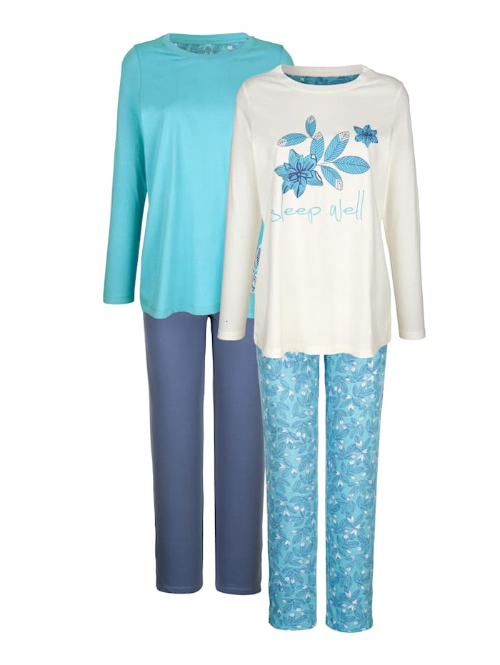 Blue Moon Pyjama's per 2 stuks met bloemendessin, Ecru/Jadegroen/Rookblauw