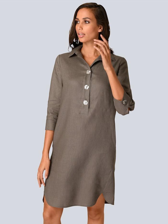 Alba Moda Kleid aus reinem Leinen, Taupe