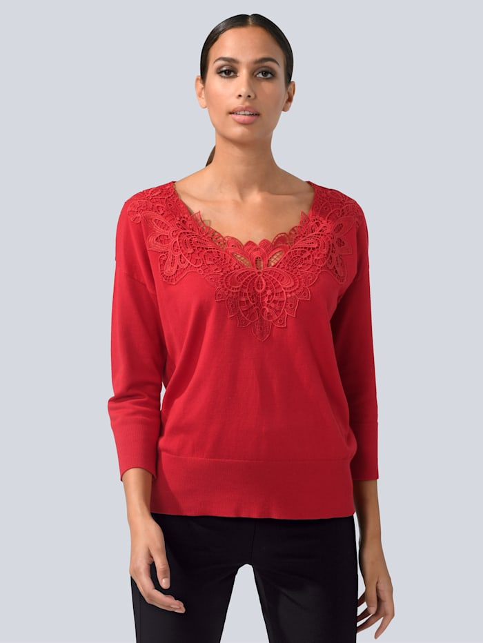 Alba Moda Pullover mit toniger Spitze besetzt, Rot