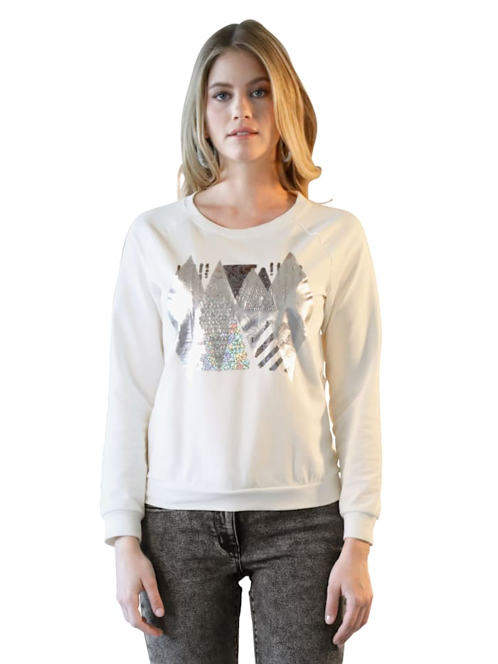 Sweatshirt mit Pailletten-Detail im Vorderteil