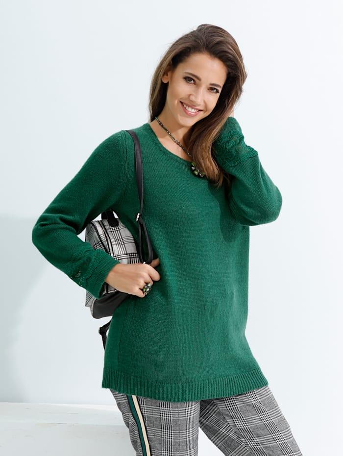 MIAMODA Pullover mit Spitzeneinsatz an den Ärmeln, Grün