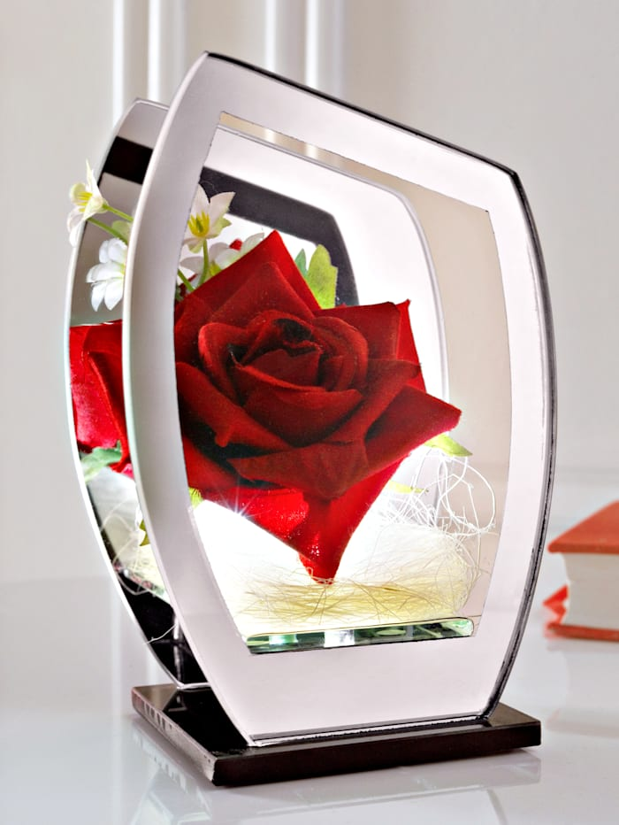 Rose im Glas mit LED, Rot