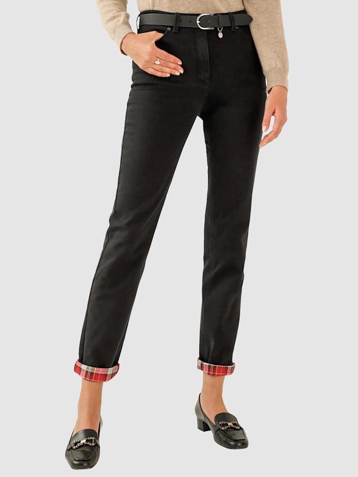 Toni Thermo-Jeans mit Karo-Aufschlag, Dunkelbraun