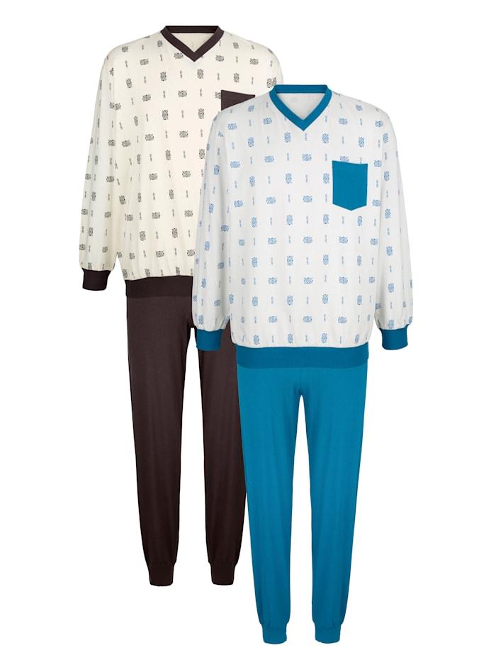Pyjama's 2 stuks, 1x petrol, 1x bruin