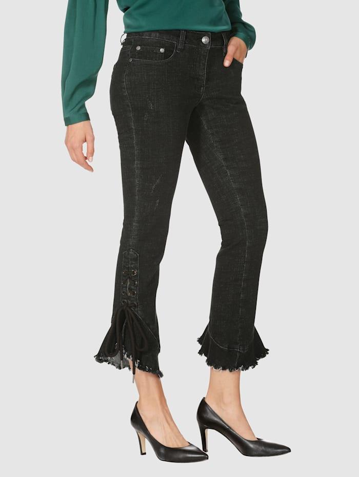 AMY VERMONT Jeans mit Schnürung und Volant am Saum, Schwarz