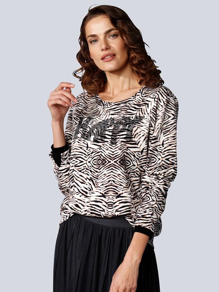 MARGITTES Sweatshirt im modischen Print, Schwarz/Off-white