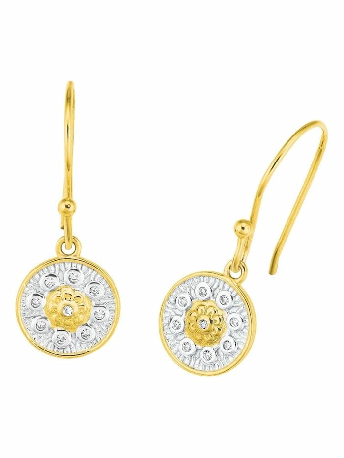 amor Ohrhänger für Damen, Sterling Silber 925, Zirkonia Ornamente, Bicolor