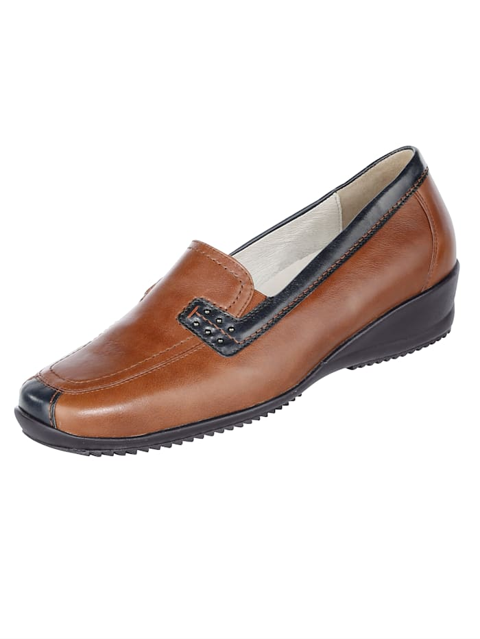 Waldläufer Loafers in a classic finish, Cognac/Blue