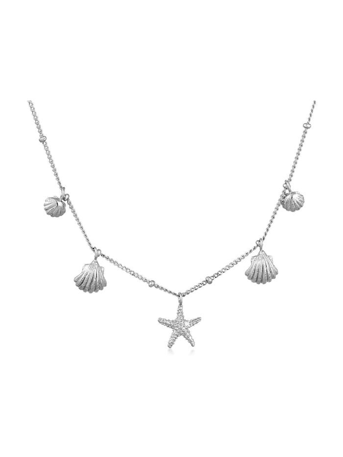 Elli Elli Halskette Muscheln Seestern Kugelkette Maritim 925 Silber, Silber