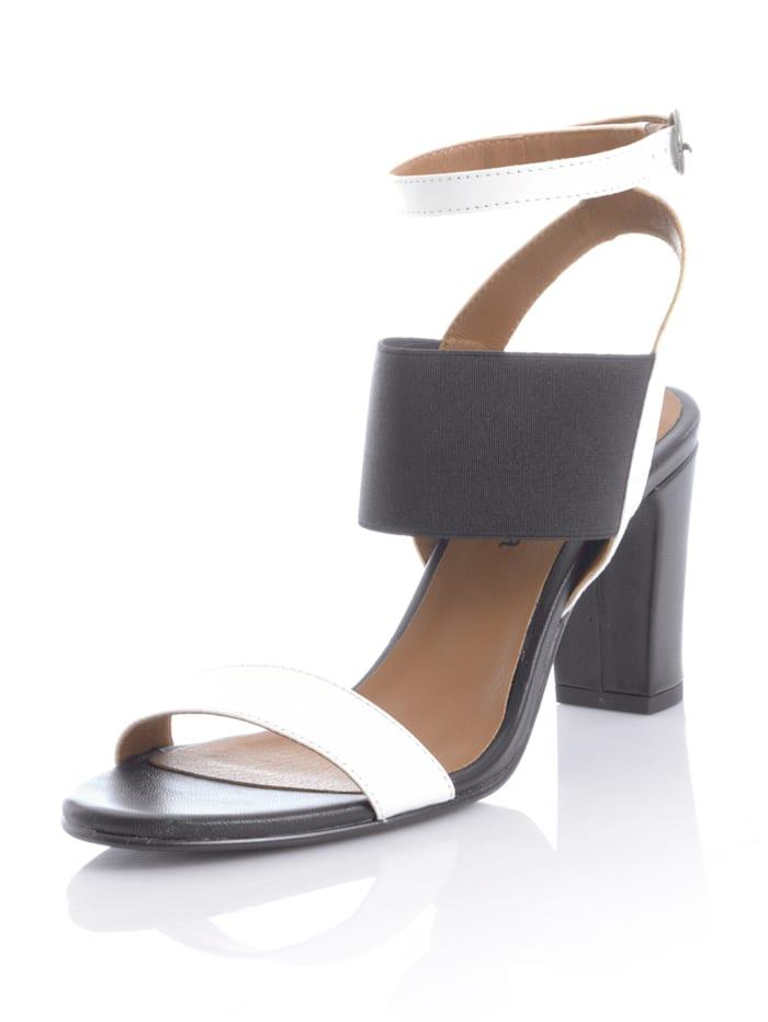 Alba Moda Sandaaltje met brede, elastische band, Wit/Zwart