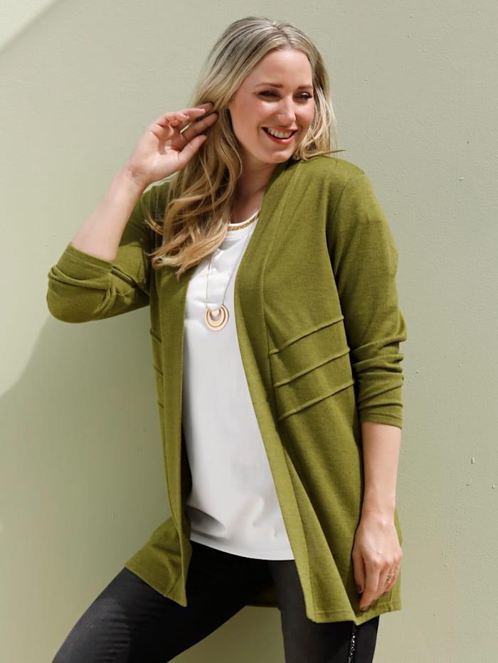 MIAMODA Vest met decoratieve biesjes, Groen