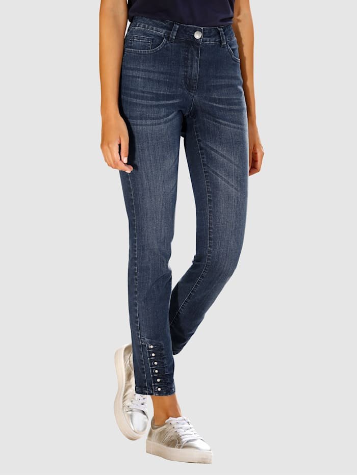 Laura Kent Jeans met siersteentjes aan de zoom, Blauw