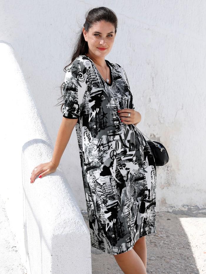MIAMODA Kleid mit streckendem V-Ausschnitt, Schwarz/Weiß