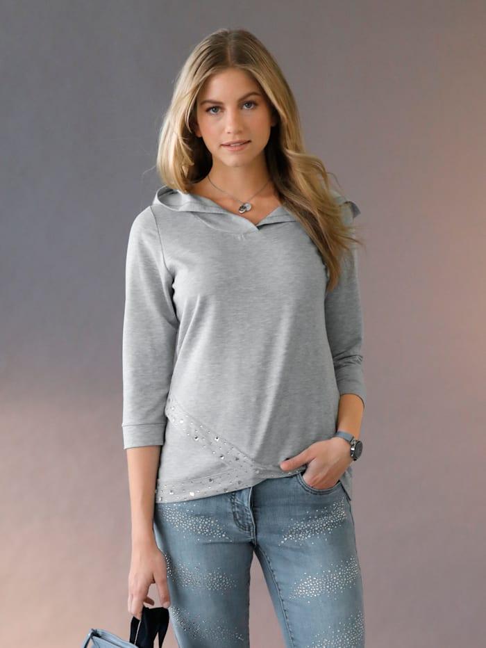 AMY VERMONT Sweatshirt mit Kapuze und Strasssteinen im Vorderteil, Grau