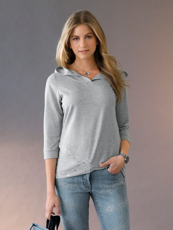 Sweatshirt met capuchon en strassteentjes voor