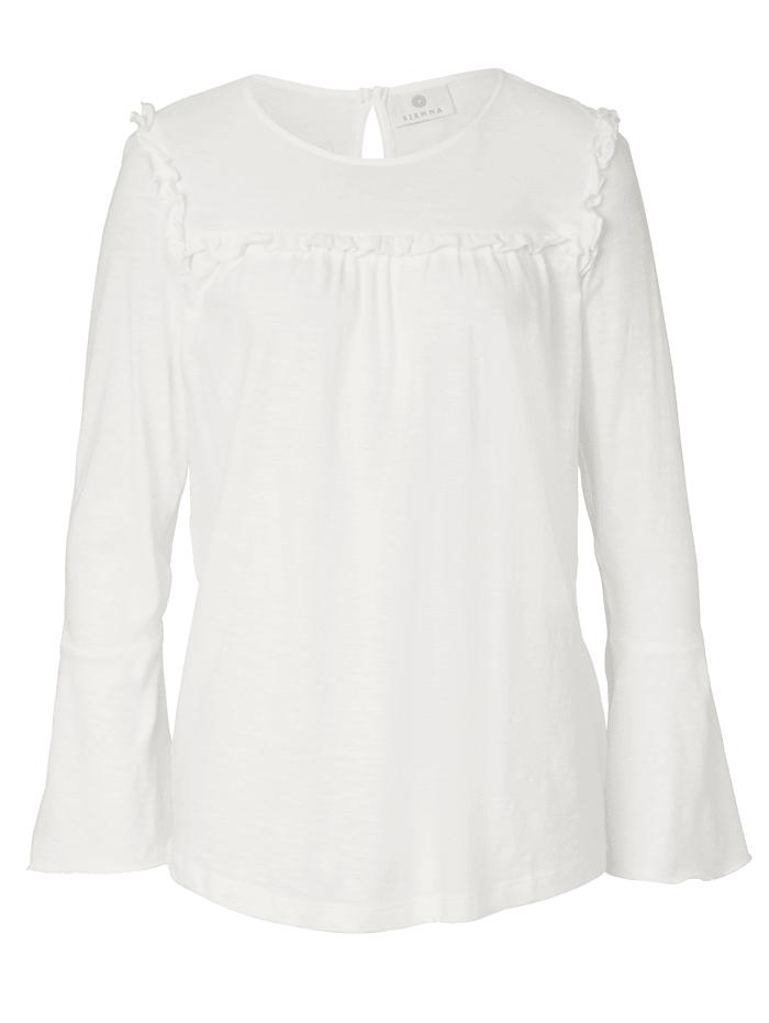 SIENNA Langarmshirt mit Rüschen-Detail, Off-white
