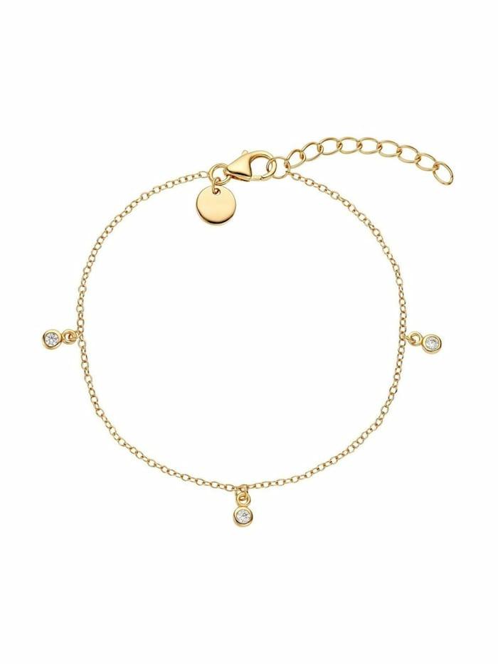 Noelani Armband für Damen, Sterling Silber 925, Zirkonia Coin, Gold