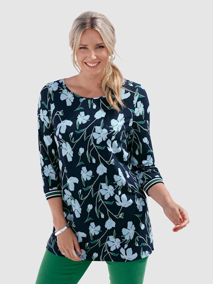 MIAMODA Shirt mit Strickbündchen am Armabschluss, Marineblau/Grün