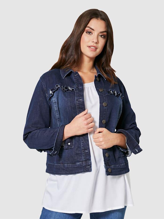 Angel of Style Jeansjakke med rysjer, Dark blue