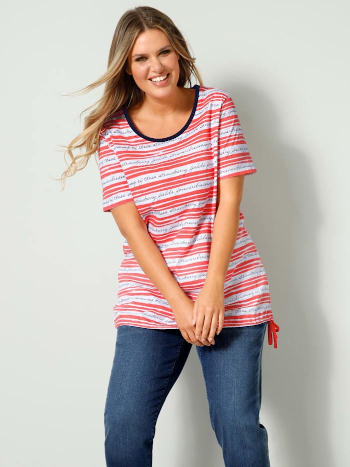 Janet & Joyce Shirt met tunnelkoord in de zoom, Koraal/Wit/Marine