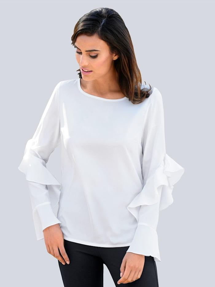 Alba Moda Bluse mit trendiger Volantverarbeitung, Weiß