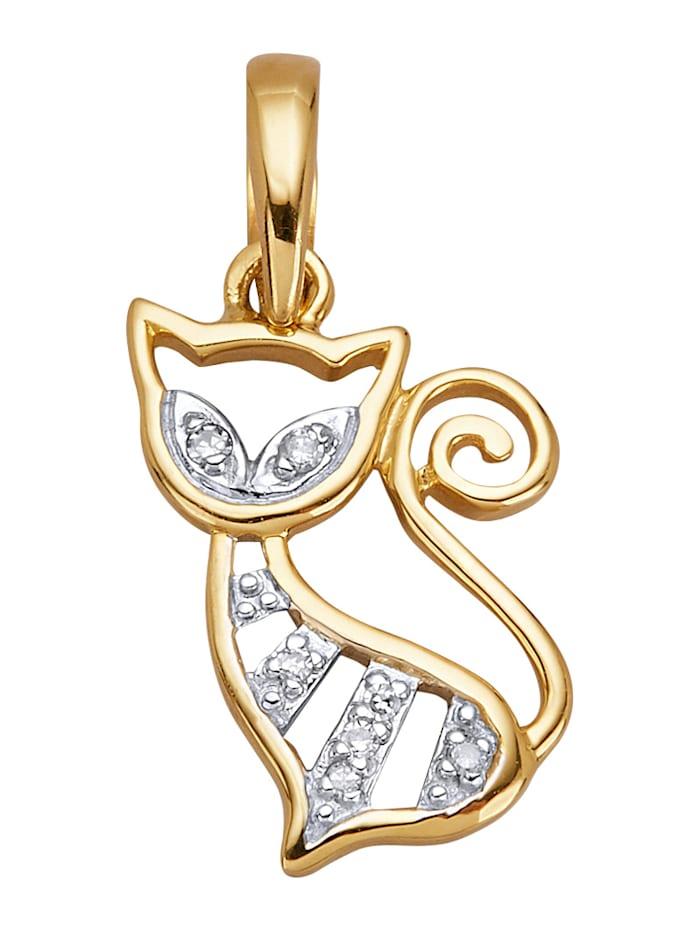 Katzen-Anhänger mit Diamant, Gelbgoldfarben