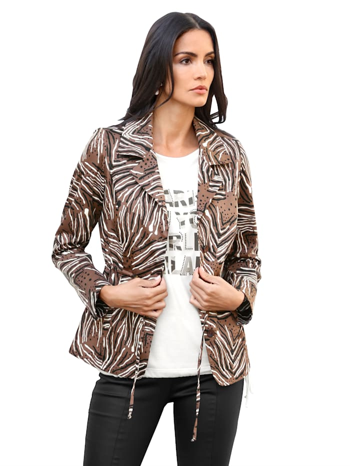 AMY VERMONT Blazer mit grafischem Muster allover, Braun/Schwarz/Creme-Weiß