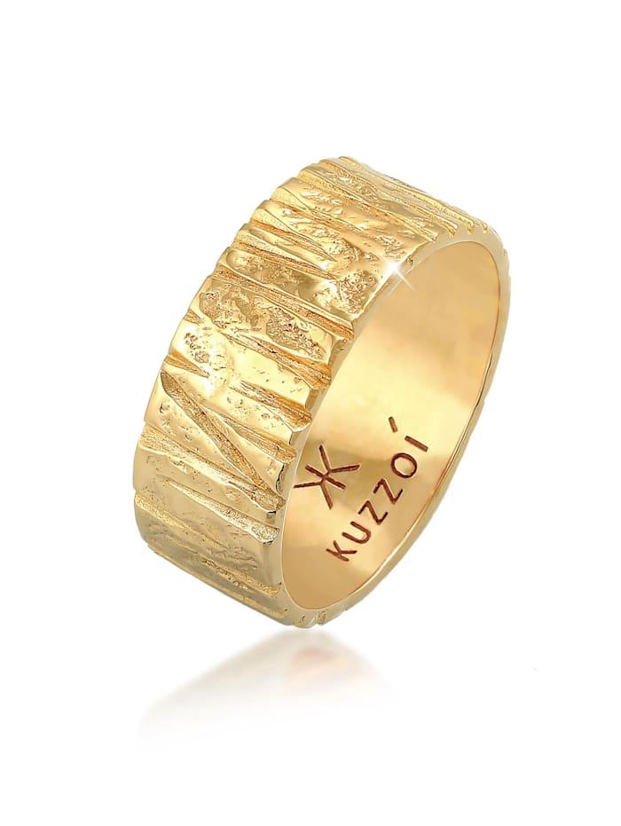 Kuzzoi Ring Bandring Breit Struktur Gehämmert 925 Silber, Gold
